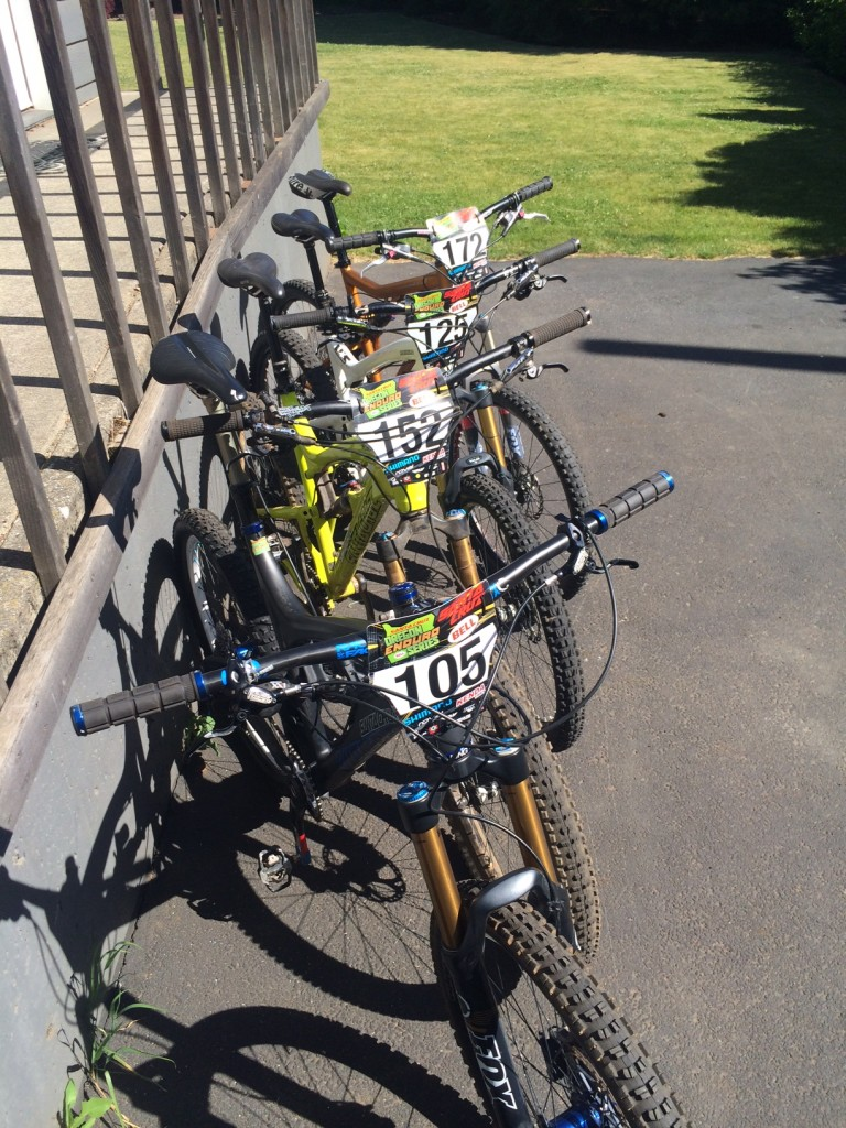 Four Santa Cruz bikes featuring Oregon Endruo Series race plates ready to race