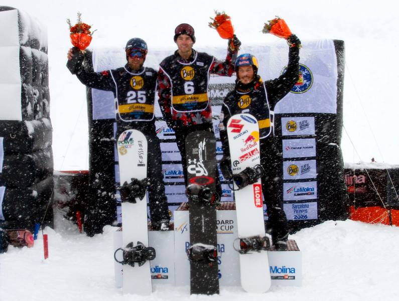 "La Molina World Cup Podium: Chris Robanske middle, Alex 'Chumpy"" Pulling right"